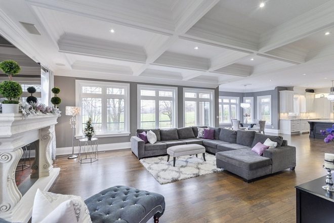 Coffered ceiling 10 ft Coffered Ceiling Plaster crown mouldings / Paint SW 7627 White Heron by Sherwin Williams I wanted to add a dramatic and luxurious statement to our family room so we decided to add a coffered ceiling