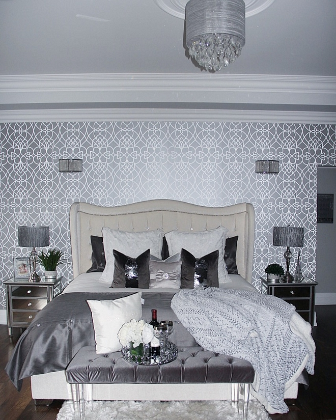 shimmering metallic wallpaper A feature wall can make a serious style statement I chose a textured, shimmering metallic design from Crown Wallpaper which adds just the right amount of glam in our master bedroom
