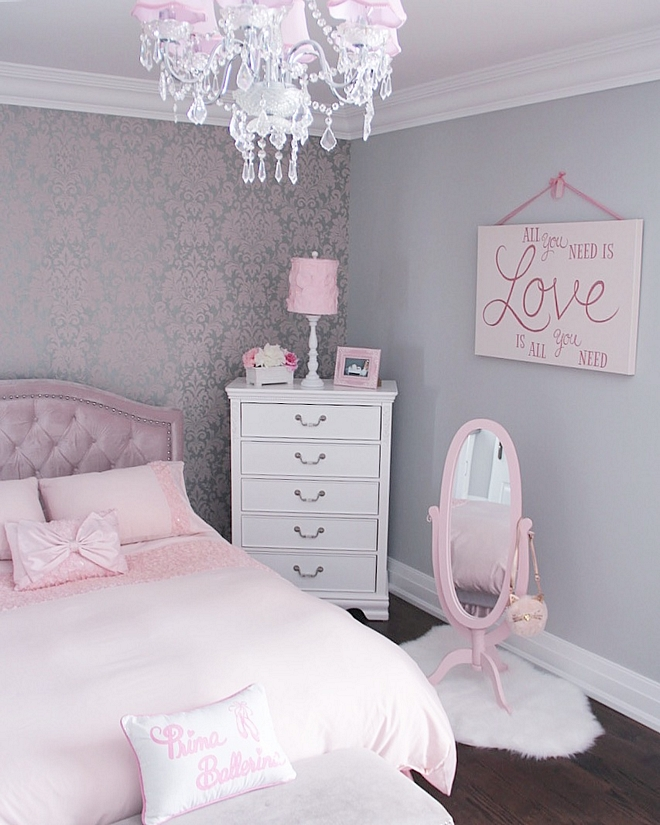 chandelier with pink shades Girl bedroom with chandelier with pink shades