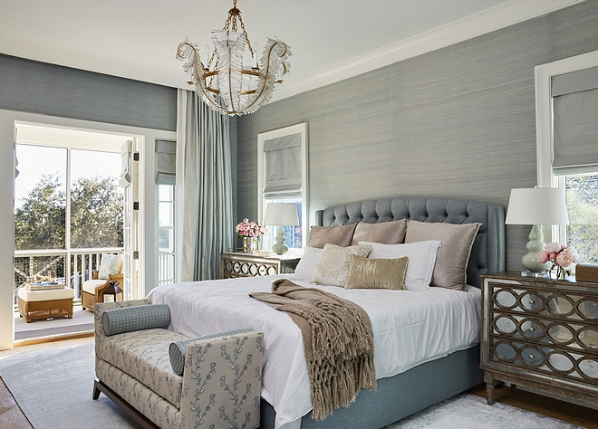 Beautiful master bedroom with blue-grey color scheme
