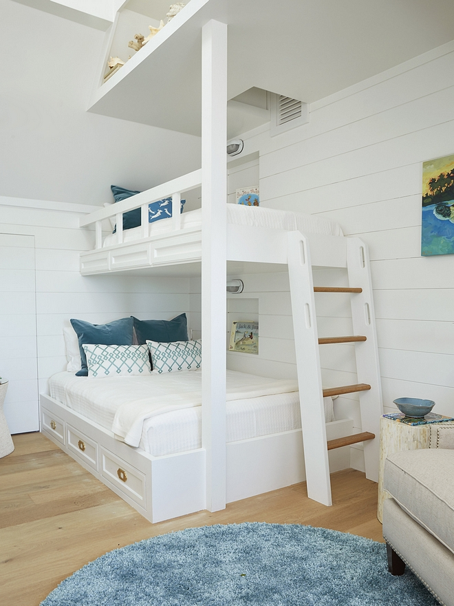 White bunk room with crisp white shiplap and teal decor White bunk room with crisp white shiplap and teal decor White bunk room with crisp white shiplap and teal decor #Whitebunkroom #crispwhiteshiplap #shiplap