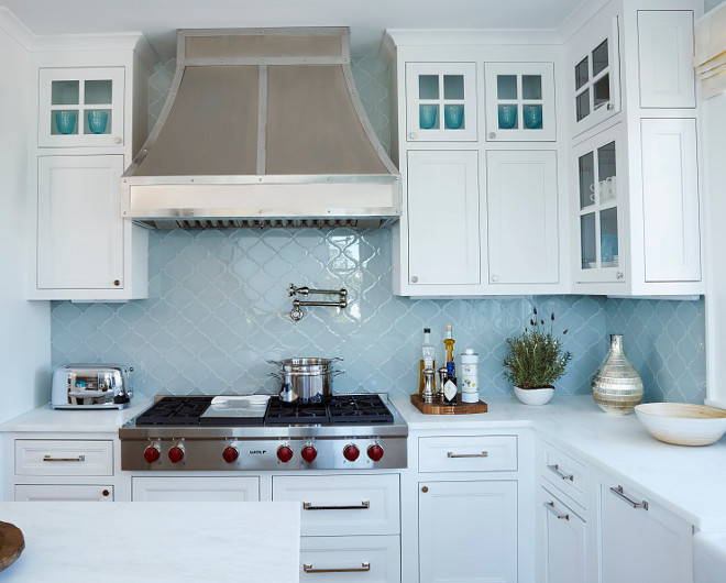 Kitchen Blue backsplash Blue Quatrefoil tile White kitchen Blue backsplash #BlueBacksplash