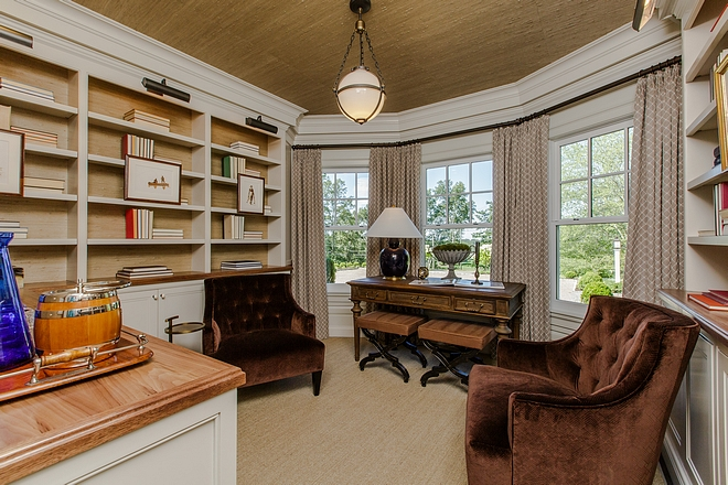 Study with bay windows and ceiling wallpaper