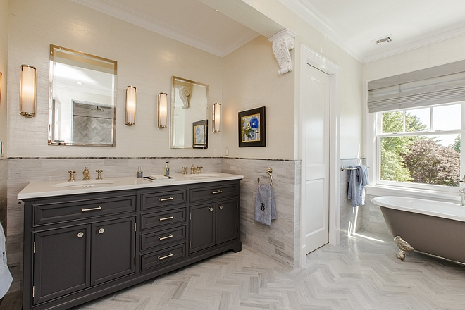 Master bathroom features a Restoration Hardware Kent Double vanity, RH Rivet Medicine Cabinets and RH sconces