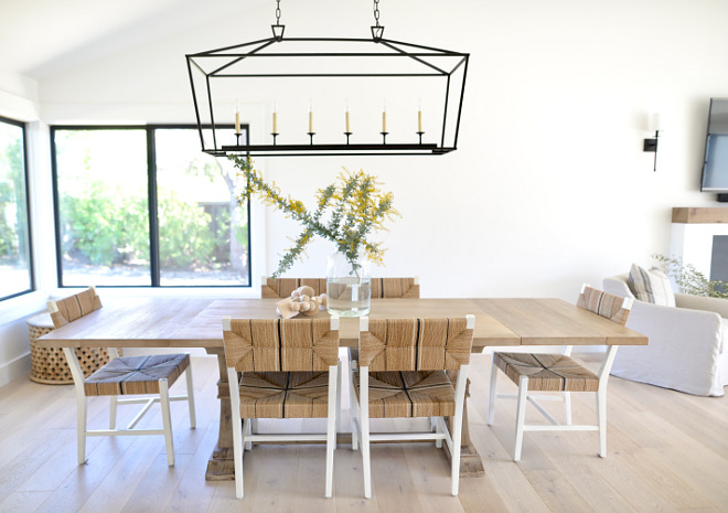 Modern Farmhouse Dining Room with Black steel windows