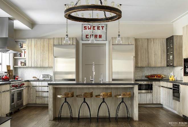 Modern Farmhouse Kitchen with Plank Cabinets - Home Bunch ...