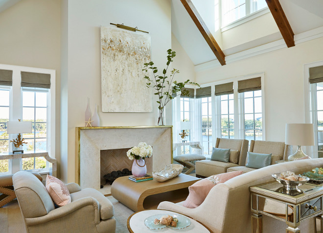 Neutral living room color scheme Neutral living room color scheme ideas Living room color scheme of light tan, blush pink and pale blues