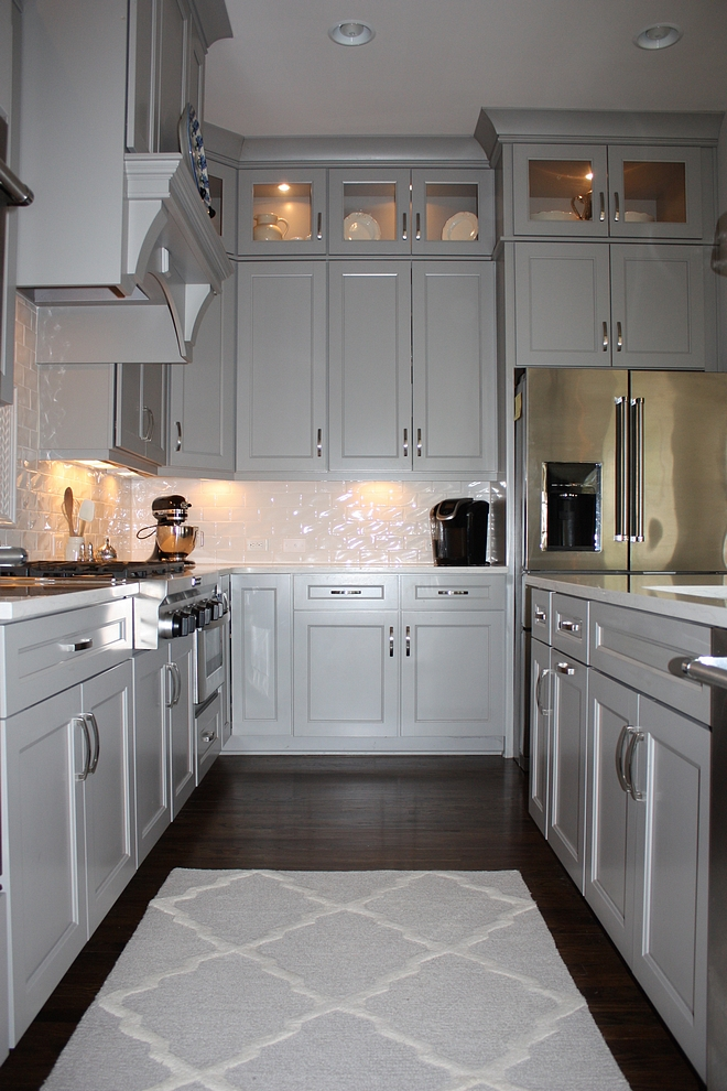 Grey Kitchen with white backsplash Grey Kitchen with white backsplash Grey Kitchen with white backsplash