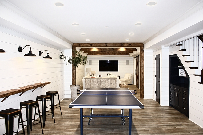 Modern Farmhouse Basement Inspired with shiplap