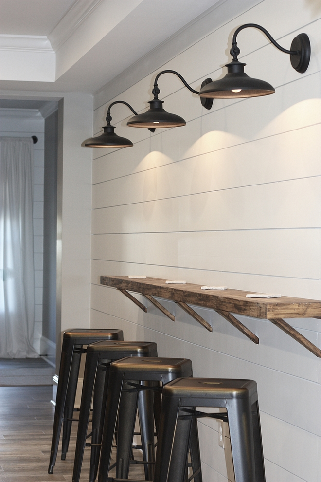 Shiplap painted in Sherwin Williams 7005 Pure White