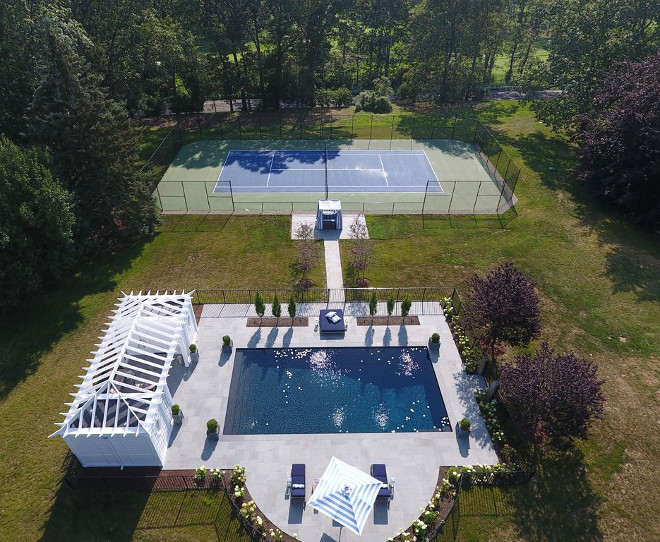 Pool and tennis court ideas backyard