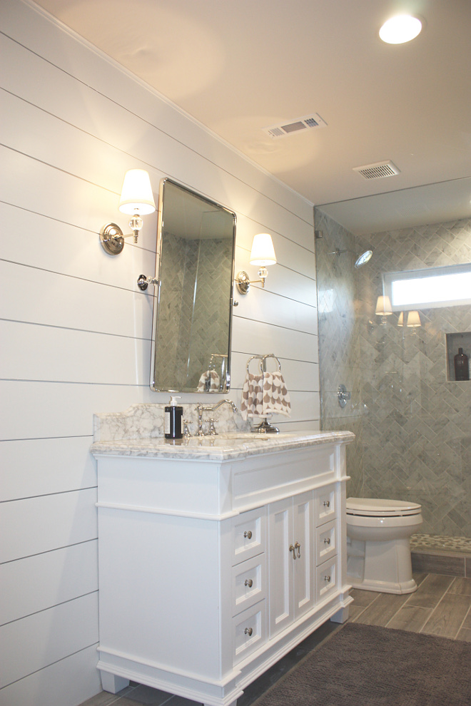 Shiplap Bathroom painted in Sherwin Williams Pure White Shiplap Bathroom Shiplap Bathroom