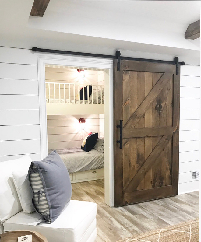 Small Bunk Room Ideas Custom Bunk beds in closet bunk beds small spaces The custom barn door opens to an adorable bunk room with shiplap