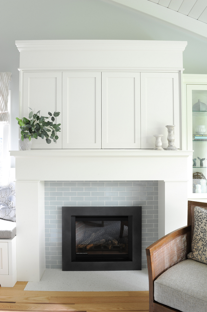 Subway Tile Fireplace The fireplace features 2 x 6 blue-gray ceramic subway tile Surround Subway Tile Fireplace Surround Ideas