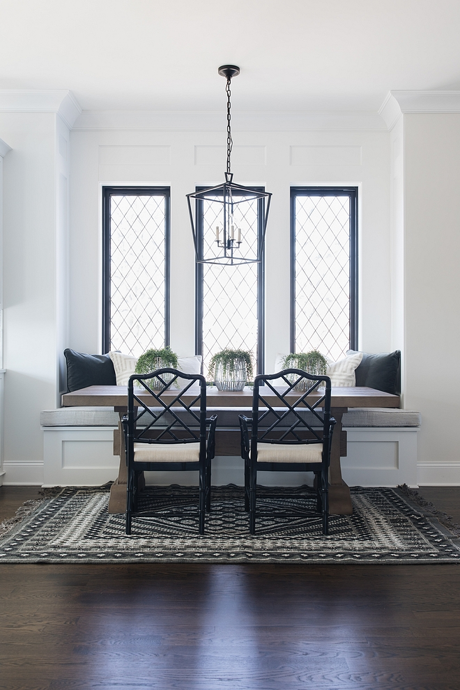 Breakfast Nook with Black windows with leaded glass Breakfast Nook with Black windows