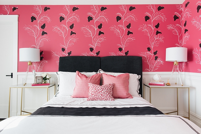 Pink and black teen bedroom color scheme ideas