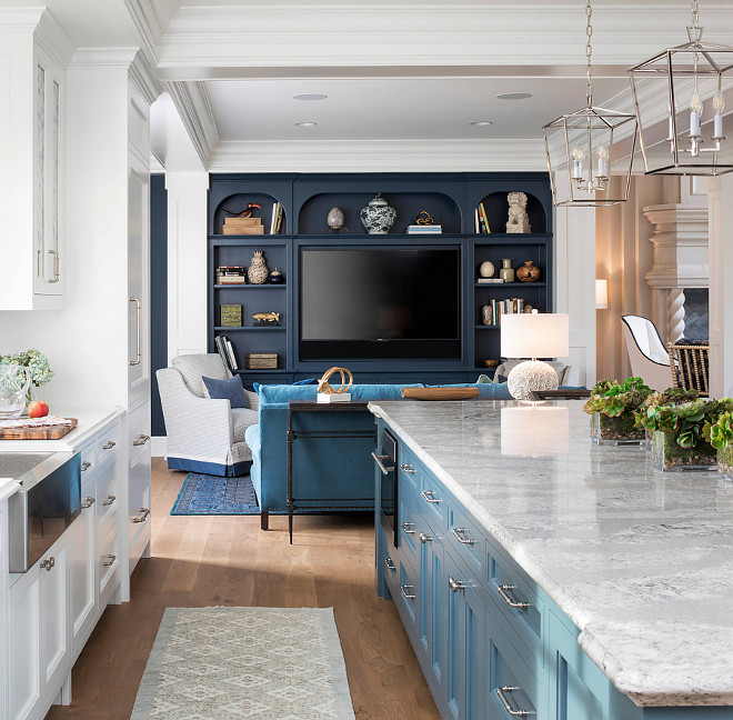 White Kitchen with blue island opens to family room with navy blue cabinets Kitchen ideas Blue kitchen island White Kitchen with blue island opens to family room with navy blue cabinets