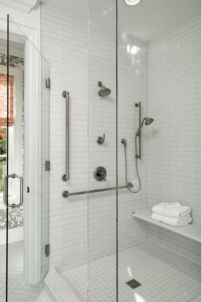 White shower tile combination ideas