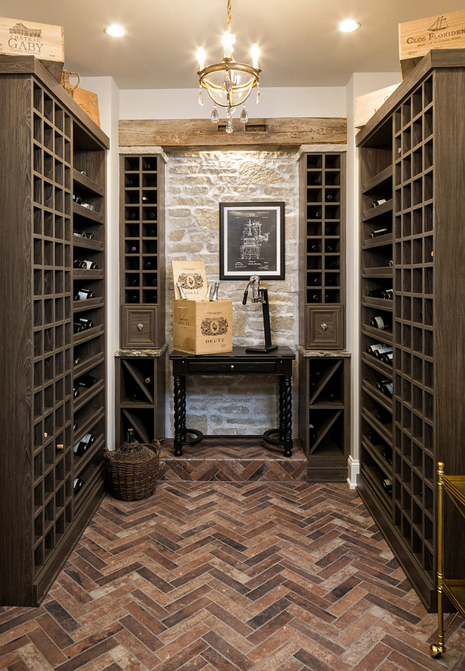 Wine room Herringbone Brick flooring Paint color Edgecomb Gray by Benjamin Moore