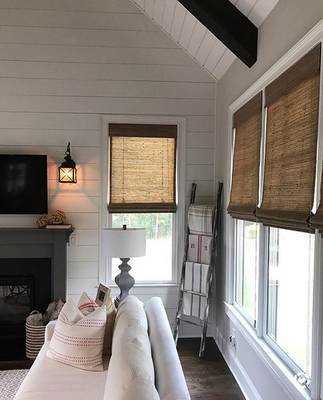 Woven roman shades with shiplap and beams Natural Shades
