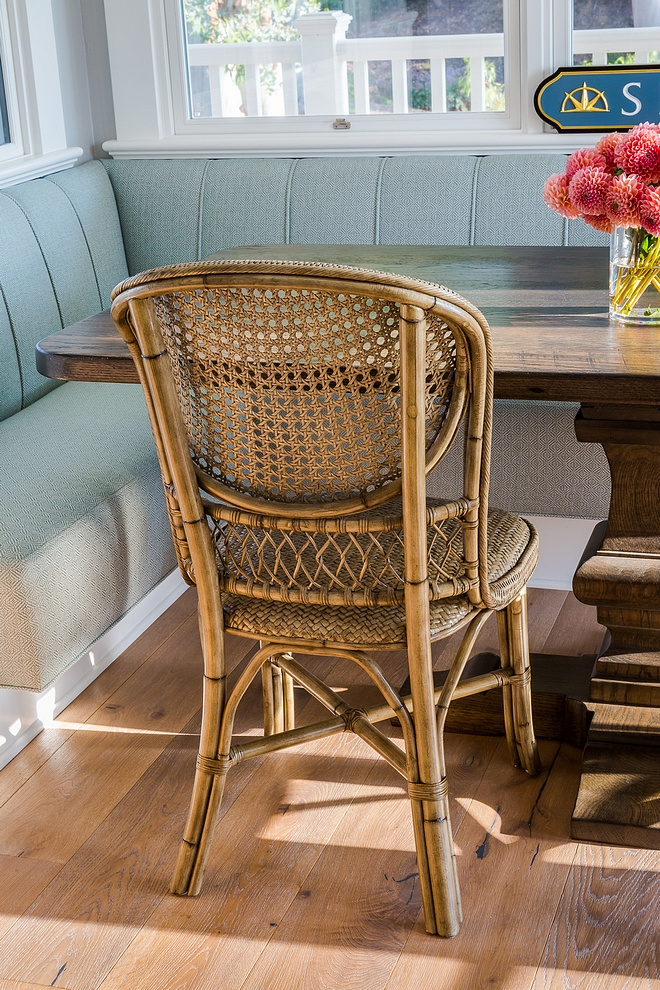 Cane and rattan dining chair Palecek Antique Gray Cane Side Chair
