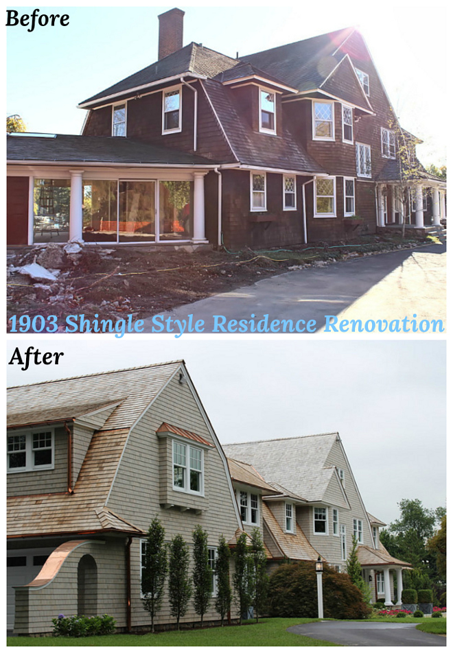 Before and After Shingle Style Residence Renovation Before and After exterior pictures Before and After renovation #BeforeandAfter