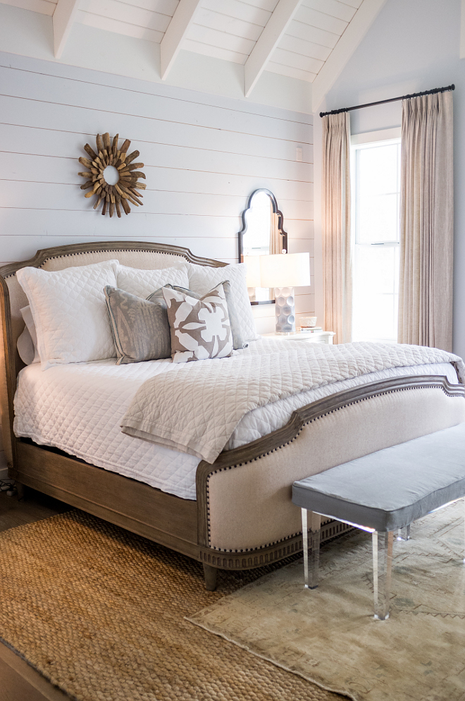 Master Bedroom Decor Neutral bedroom with jute rug linen drapes and neutral bedding