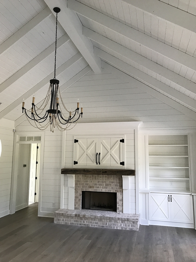 Farmhouse Ceiling Farmhouse Shipla Ceiling How to do a vaulted shiplap ceiling with beams Ceiling Treatment 1x6 knotty pine tongue and groove w/ exposed 2x8 rafters in great room
