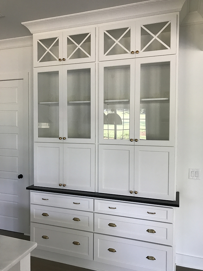 Hutch cabinet kitchen hutch cabinet with glass doors upper cabinets and drawers on lower cabinet Countertop is Black Pearl Granite