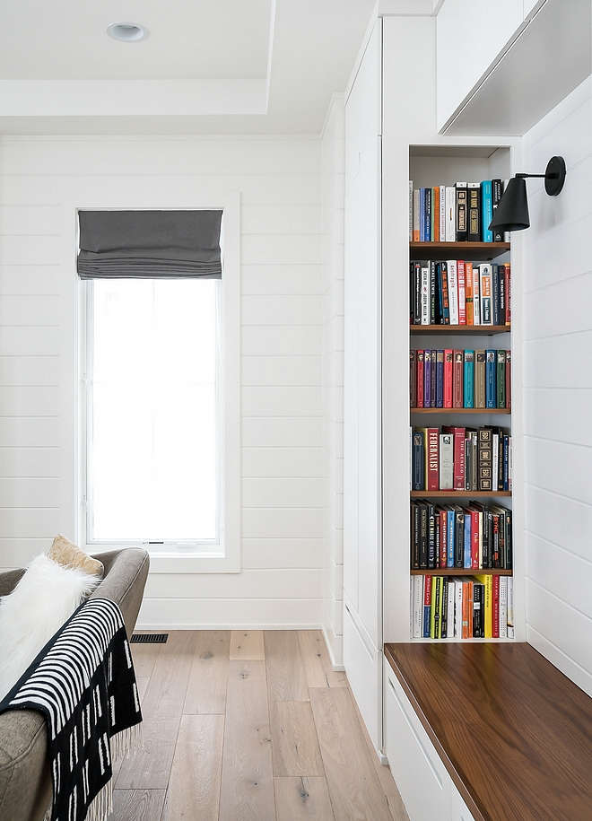 "Shiplap are 8"" tongue and groove painted with a glossy Simply White by Benjamin Moore"