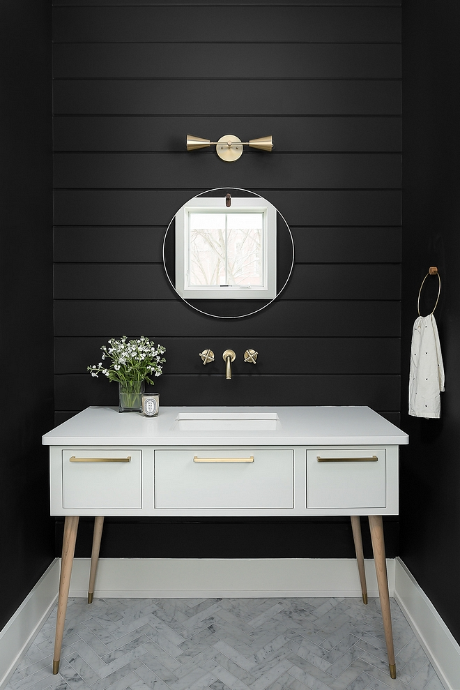Benjamin Moore Black Jack 2133-20 Bathroom features a custom Mid-century inspired vanity and black shiplap walls painted in Benjamin Moore Black Jack 2133-20