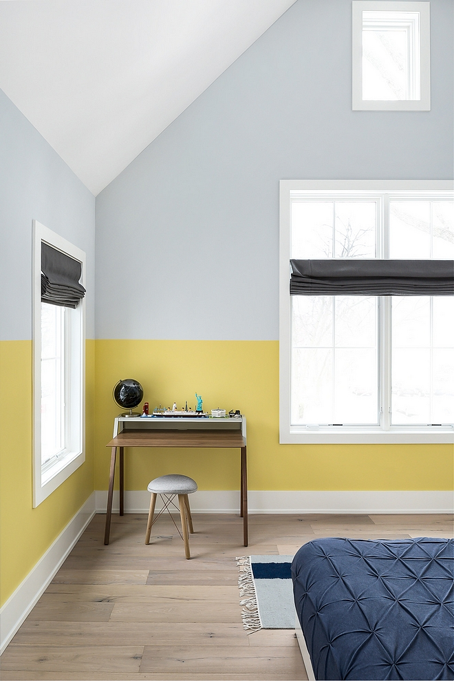 Two Toned walls Two toned bedroom wall paint colors Bottom part is painted in Benjamin Moore Oh She Glows and top is Farrow and Ball Blackened