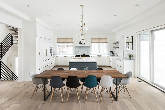 Modern dining room ideas Modern farmhouse with modern dining table and modular dining chairs