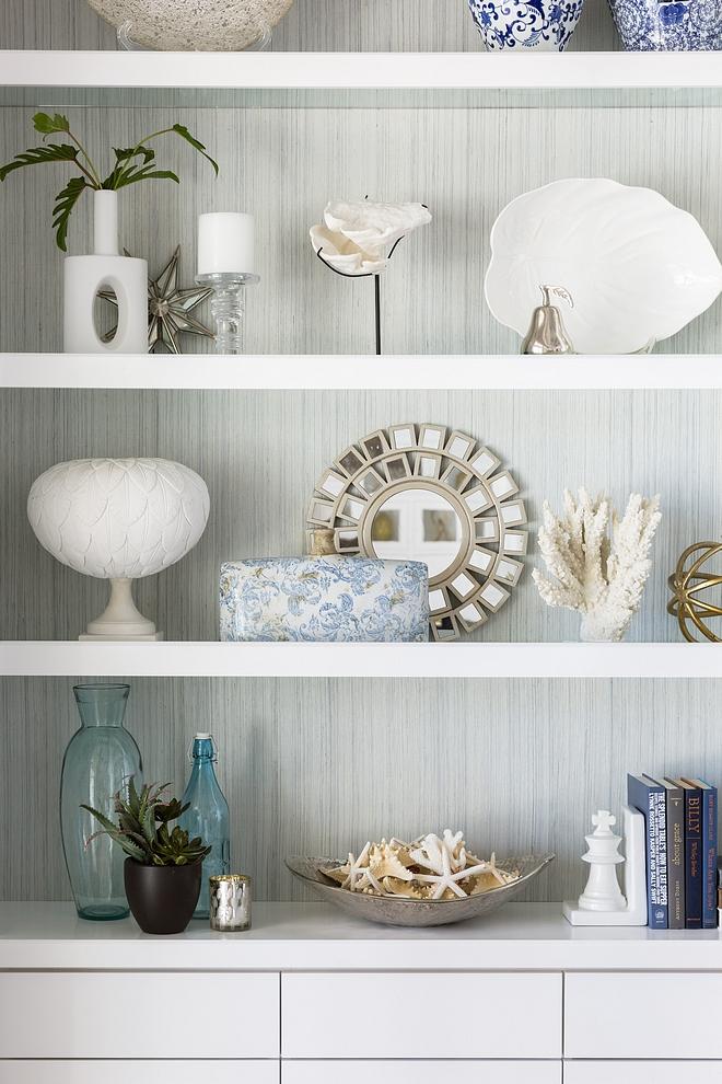Bookcase wallpaper Bookcase back wallpaper Bookcase Wallpaper is Phillip Jeffries Soho Hemp Blue and Grey