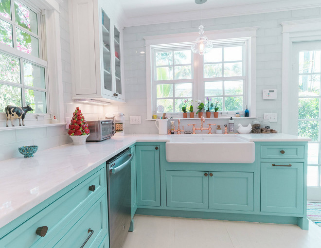 Custom kitchen with turquoise cabinets home bunch for Benjamin moore turquoise colors