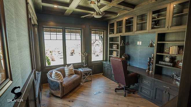 Home Office with Coffered Ceiling The home office features coffered ceiling and built-in desk flanked by built-in cabinets Home Office with Coffered built in desk and cabinets Ceiling Home Office with Coffered Ceiling Home Office with Coffered Ceiling