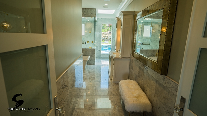 Bathroom Floor Tile and Wainscot Tile Bianca Carrara Marble polished