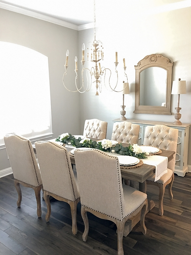 French Country Farmhouse Dining Room paint color Sherwin Williams Repose Gray