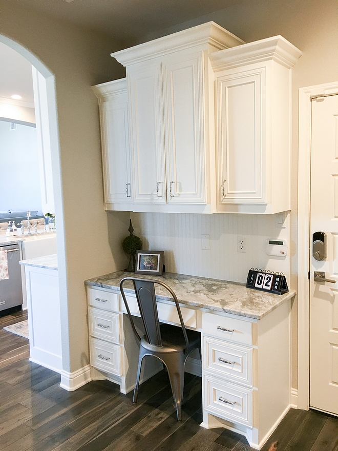 Sherwin Williams Pure White with Superwhite quartzite countertop Drop Zone Desk