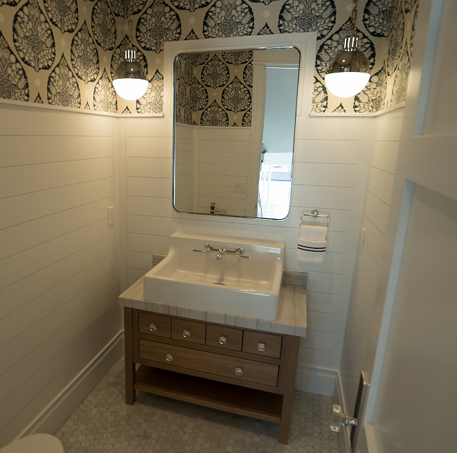 Farmhouse Bathroom with half wall shiplap White Oak vanity and Hicks pendants