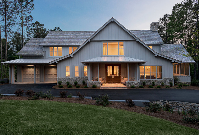 Grey farmhouse exterior