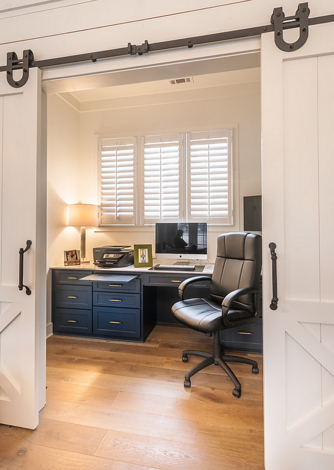 Home Office Barn Doors and custom cabinets painted in Benjamin Moore Hale Navy