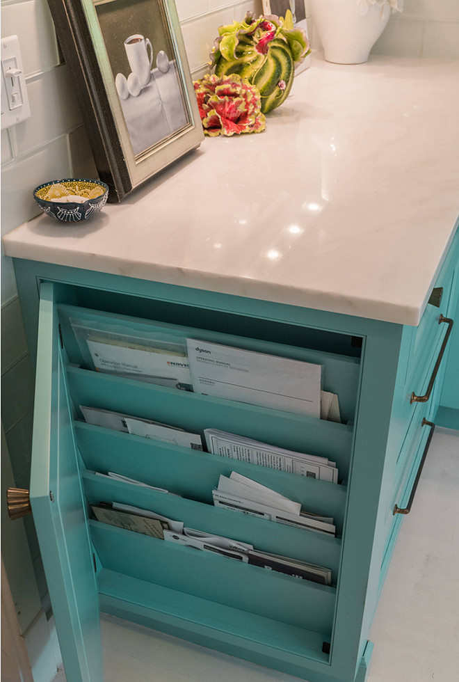 Custom kitchen with turquoise cabinets home bunch for Hidden kitchen storage ideas