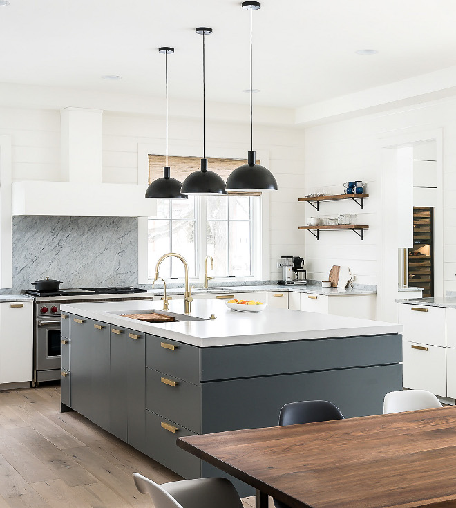 Farrow and Ball Downpipe Grey Kitchen Island Paint color is Farrow and Ball Downpipe
