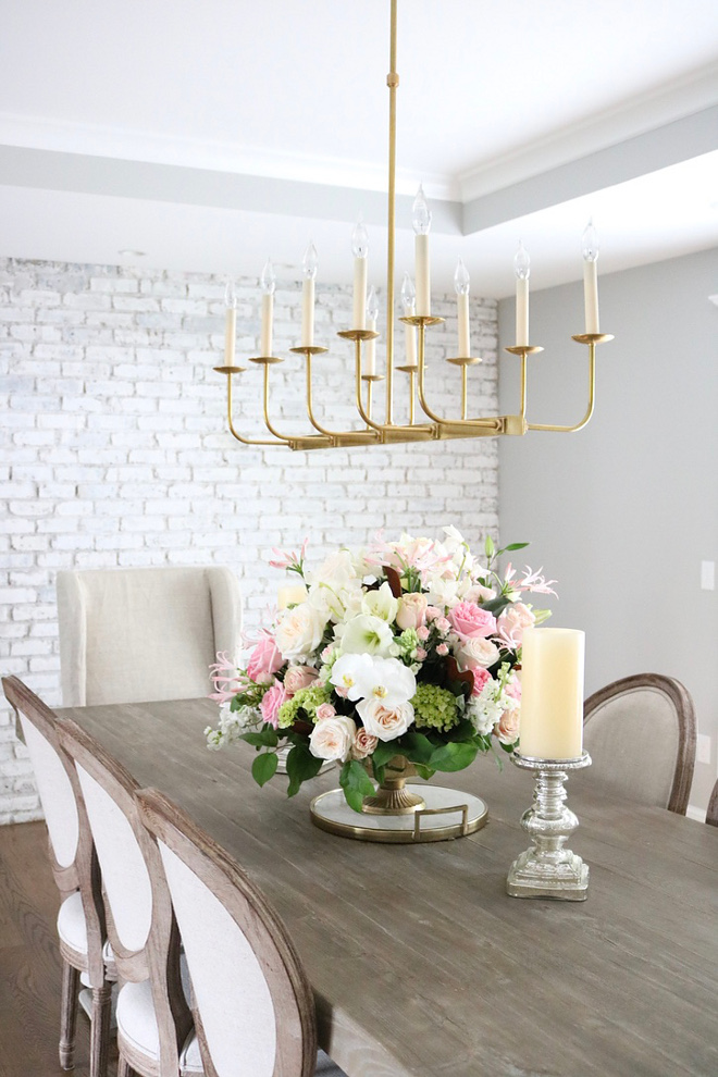 Linear Chandelier Brass Linear Chandelier source on Home Bunch I never thought I'd chose a linear chandelier for this space, but I ended up loving it Linear Chandelier #LinearChandelier