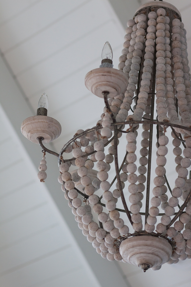 Wood bead chandelier Wood bead chandelier Bleached wood beads chandelier source on Home Bunch