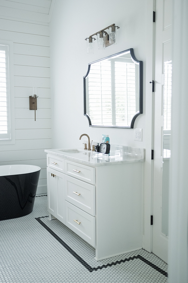 Benjamin Moore Chantilly Lace Master Bathroom Cabinets Benjamin Moore Chantilly Lace with Shaker doors Benjamin Moore Chantilly Lace with shaker cabinet doors