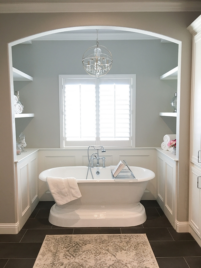 Bath Nook Bath Nook with built in shelves and wainscoting Bath nook