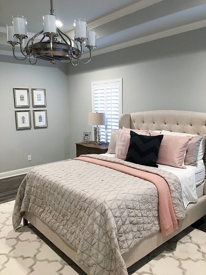 The master bedroom features a gray paint color Sherwin Williams Repose Gray