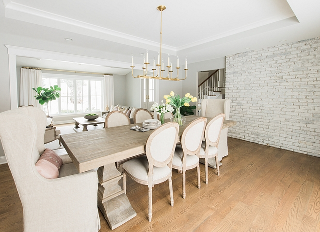 Casual Dining Room Our dining room serves as both our casual and formal dining space, so I was very mindful of this when selecting the furniture and lighting so that I could make it function for both purposes #CasualDiningRoom